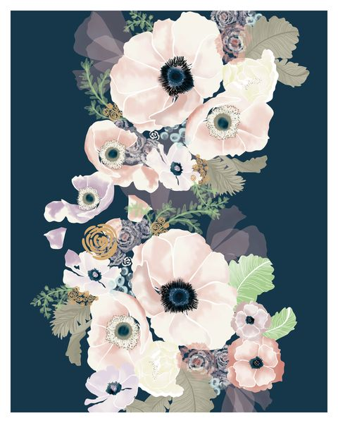 Soft and graphic florals in soft blush tones and inky navy blues form the perfect modern and sweet color combination. Perfect to hang solo or in a vignette. Printed on acid…