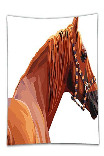 Interestlee Satin drill Tablecloth?Animal Race Jokey Horse Pure Noble Animal Ride Hobby Nature Vehicle Artwork Paint White and Cinnamon Dining Room Kitchen Rectangular Table Cover Home Decor