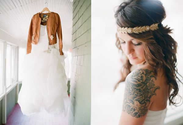 Leather jacket goes perfect with everything, even a bridal gown. (Colorado Springs Wedding)