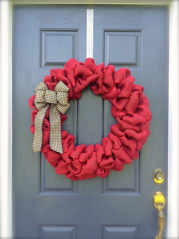 Large Red Wreath Burlap Wreath Red Wreath by WreathsByRebeccaB