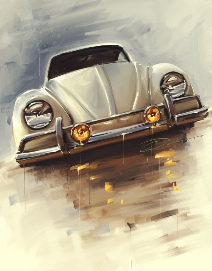 """Ran When Parked"" Classic Vw Artwork/Painting. Limited Edition Prints available at PinstripeChris.com/ranwhenparked"