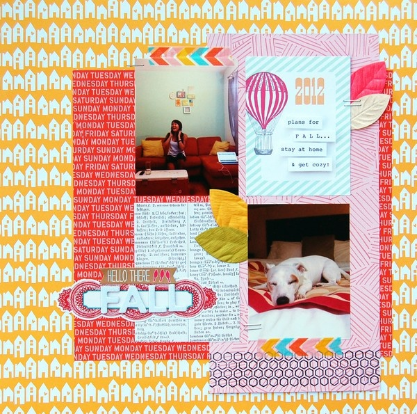 Hello There Fall - by Amy Tan using product from the Amy Tangerine Ready Set Go collection from American Crafts. #scrapbooking #fall #autumn #amytangerine