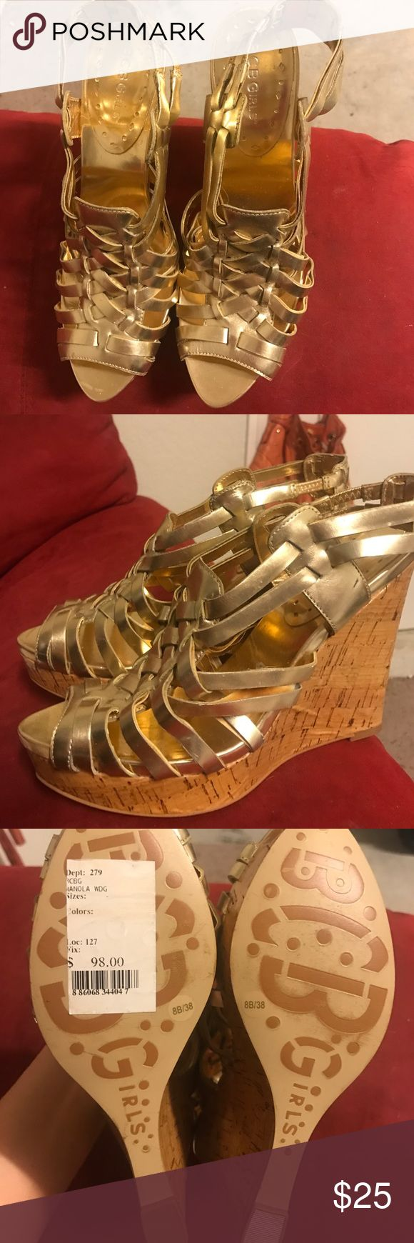 BCBGirls gold wedge heels Metallic gold 4 inch cork wedge heel. Metallic gold basket weave design. Easy to walk in. Cute with a dress or with jeans! BCBGirls Shoes Wedges