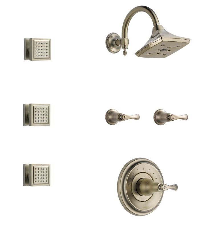 View the Brizo BSS-Charlotte-T66T01 Sensori Custom Thermostatic Shower System with Showerhead, Volume Controls, and Body Sprays - Valves Included at FaucetDirect.com.