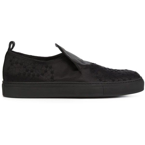 Ann Demeulemeester 'Jinx' sneakers (4,605 CNY) ❤ liked on Polyvore featuring shoes, sneakers, black, leather sneakers, ann demeulemeester shoes, black leather sneakers, black shoes and black leather trainers