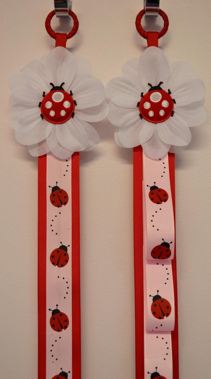 Matching Ladybug Headband Holder & Hair Bow Holder Set. $42.00, via Etsy.