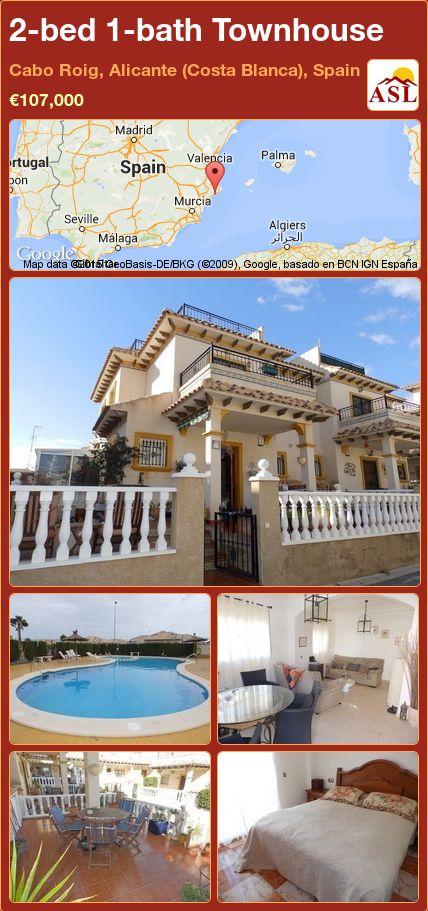 2-bed 1-bath Townhouse in Cabo Roig, Alicante (Costa Blanca), Spain ►€107,000 #PropertyForSaleInSpain