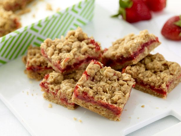 Strawberry Oatmeal Bars from FoodNetwork.com Had these today.  OMG!!!  Delicious!!!