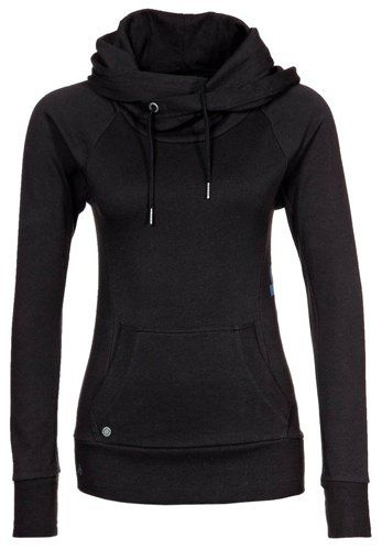 Stylish Hooded Long Sleeve Drawstring Solid Color Hoodie For Women