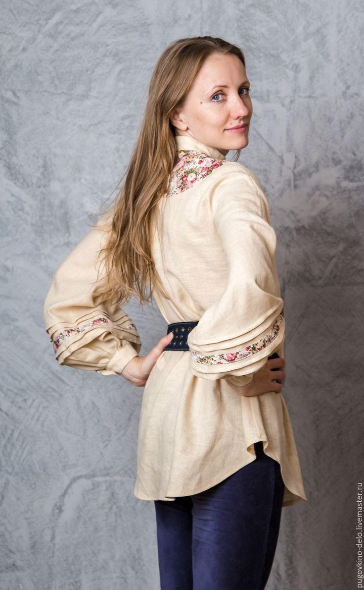 Купить Льняная туника /Брусничные пионы + топлёное молоко/ - цветочный, Льняная рубаха