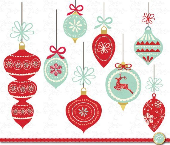 Christmas Decoration Set Christmas Ornament Etsy In 2020 Retro Christmas Decorations Embroidery Patterns Vintage Christmas Watercolor