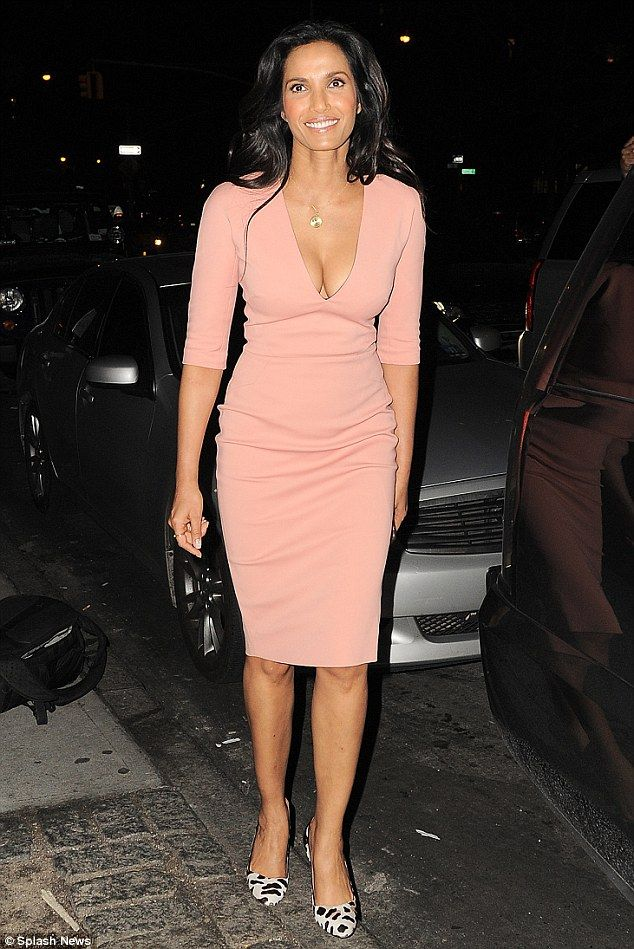 Self promotion! Padma Lakshmi, 45, knew how to drum up attention as she headed to her book signing in New York City on Wednesday