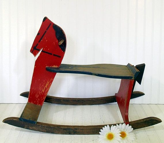 Antique Large Wooden Red Rocking Horse - Vintage Handmade Ride On Child Size HearthSide Toy - Shabby Farmhouse Holiday Decor - FREE Shipping $249.00 by DivineOrders