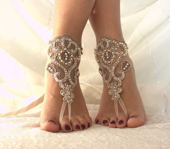Beach Wedding Sandals unique design and fairytale wedding on the beach.beach shoes with fawn lace pearl inlaid bride will have very nice pictures.You will feel like a princess.very comfortable to use and aesthetics. You can contact me for different colors and sizes.. FREE SHIPPING !  I usually send the Turkish postal services.  Products 24 hours after purchase, mail given product. On weekends given product mail after 48 hours.  If you want express mail, https://www.etsy.com/lis...