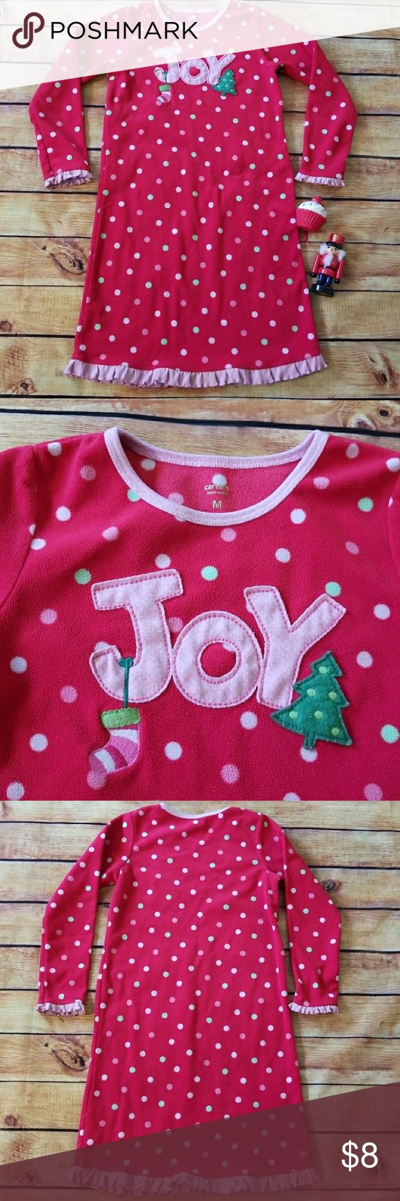 🎄⛄Girls Festive Carter Fleece Nightgown, Size M 🎄⛄❄Cute nightgown. Carter's size M, 6/6X. Red with polka dots and JOY printed on the front. Pre-loved by my daughter's 💕 Carter's Pajamas Nightgowns