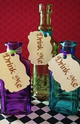 Decor, DIY, Symbols, Favors: Alice in Wonderland - Mad Hatter Tea Party - Drink Me Tags - Thrift shops for colorful glassware?