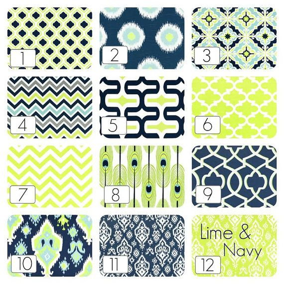 Lime Green and Navy Blue Curtain Panels. 63, 84, 96, 108, 120 Lengths. Ikat, Chevron, Moroccan Window Treatments. Drapery