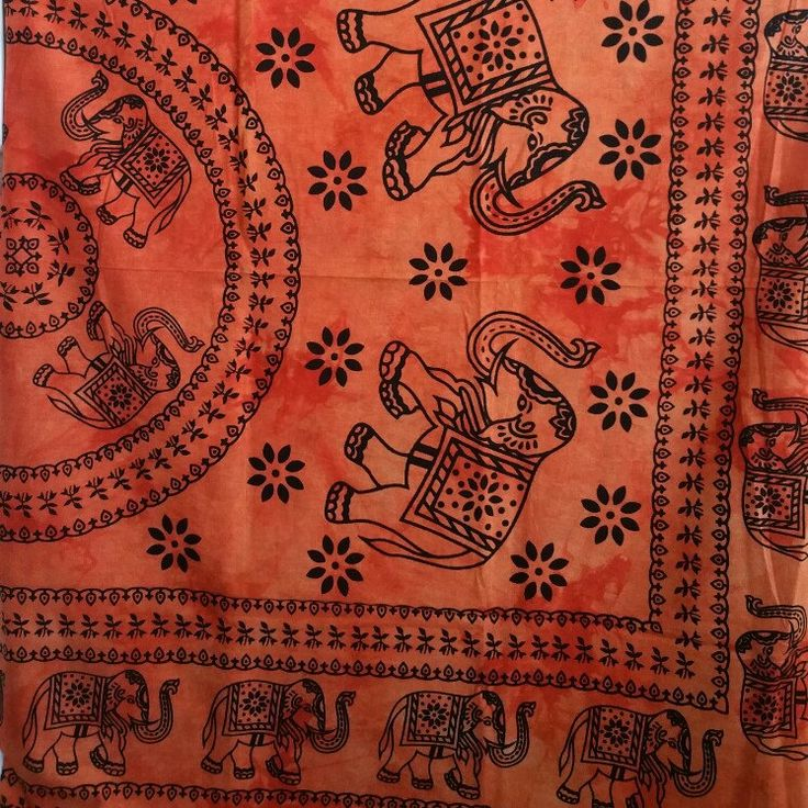 Beautiful Orange Tapestry with Traditional Elephant prints!