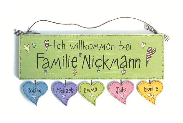Shabby Türschild Familie Wunschtext - NEU FARBIG  von byAnnoDomini via dawanda.com