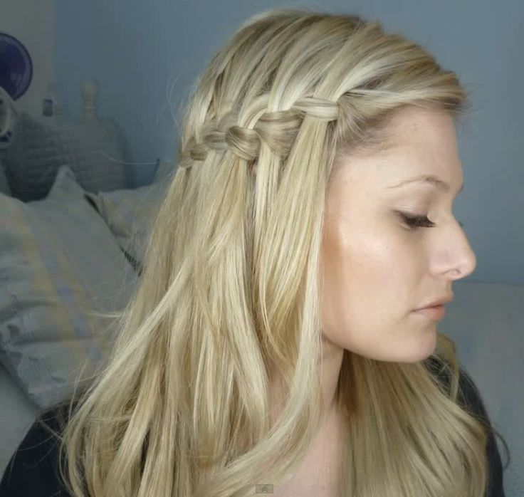 half up waterfall braid starting on both sides of the head and meeting in the middle in the back