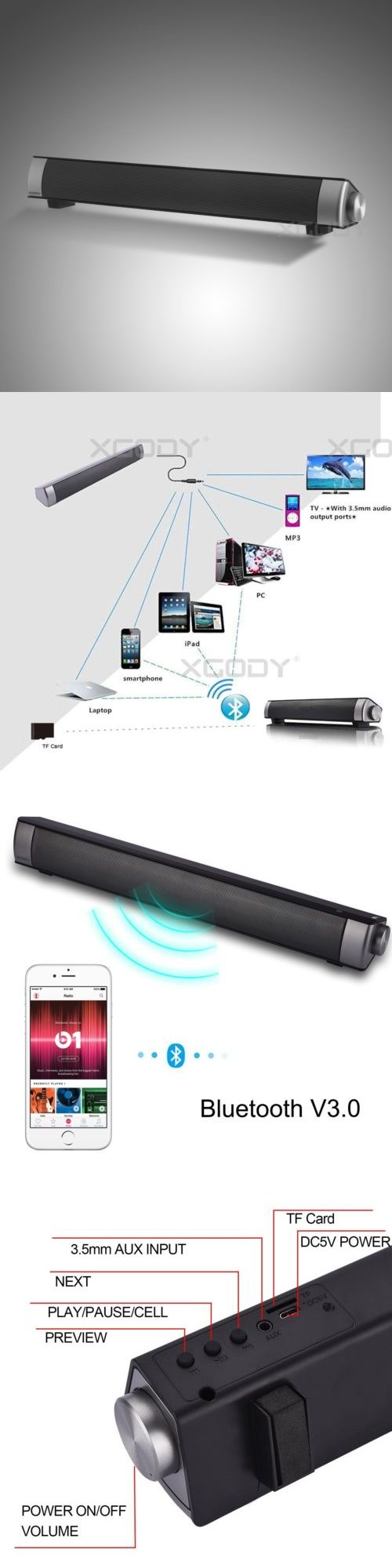 Home Speakers and Subwoofers: Bluetooth Wireless Home Theater Speaker System Tv Speakers Sound Bar Bluetooth BUY IT NOW ONLY: $34.99