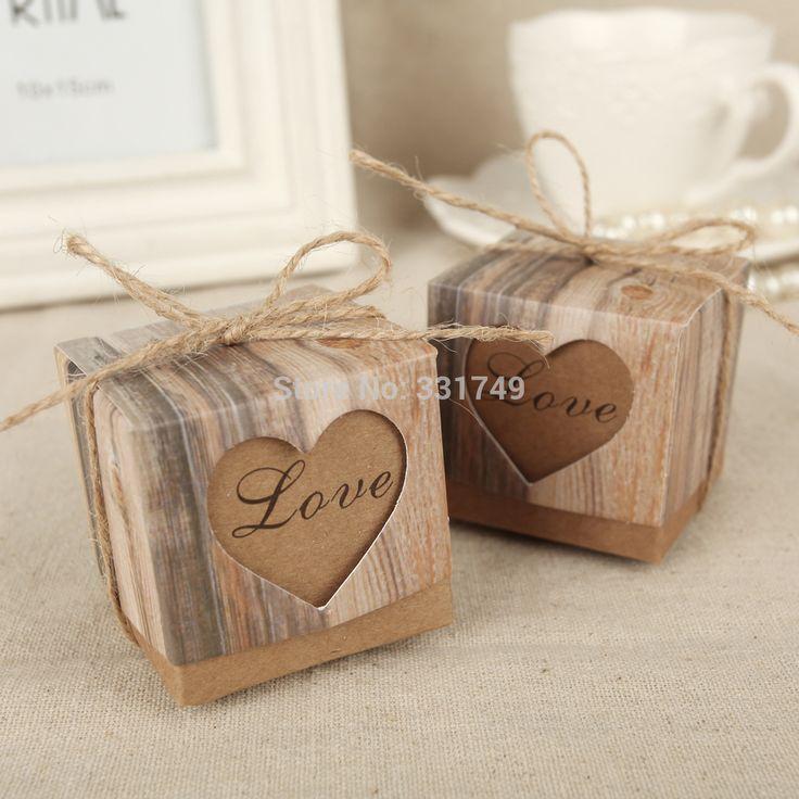 50pcs Corazones de la boda en el amor Kraft rústica de imitación de la corteza de la caja del caramelo con el favor de la boda de la arpillera de la vendimia elegante de la guita cajas de regalo