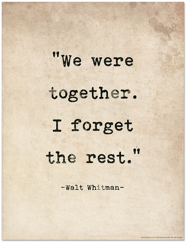 Romantic Quote Poster - Walt Whitman Literary Print for Home or School - Echo-Lit