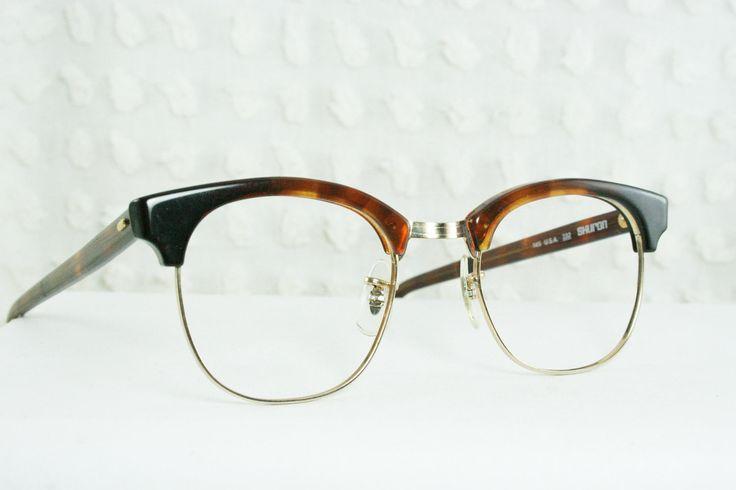 american classic  eye frames   60s Mens Glasses 1960s Browline Eyeglasses Ronsir Timberline Tortoise ...
