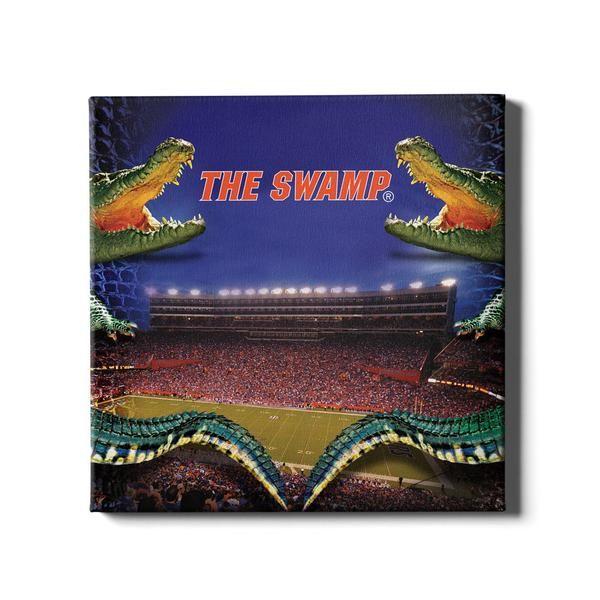 Florida Gators Night Gator Wood Art Design Football Wall Art Gallery Wrap Canvas