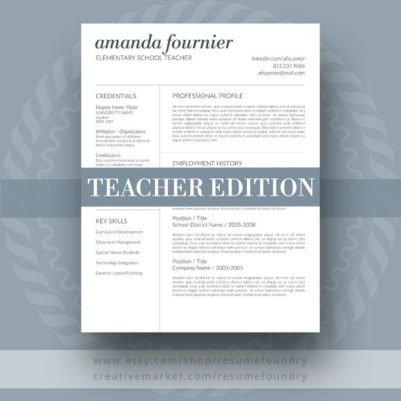 Teacher Resume Template by ResumeFoundry on @creativemarket