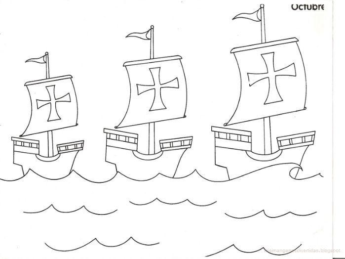 Las tres carabelas de cristobal colon dibujo
