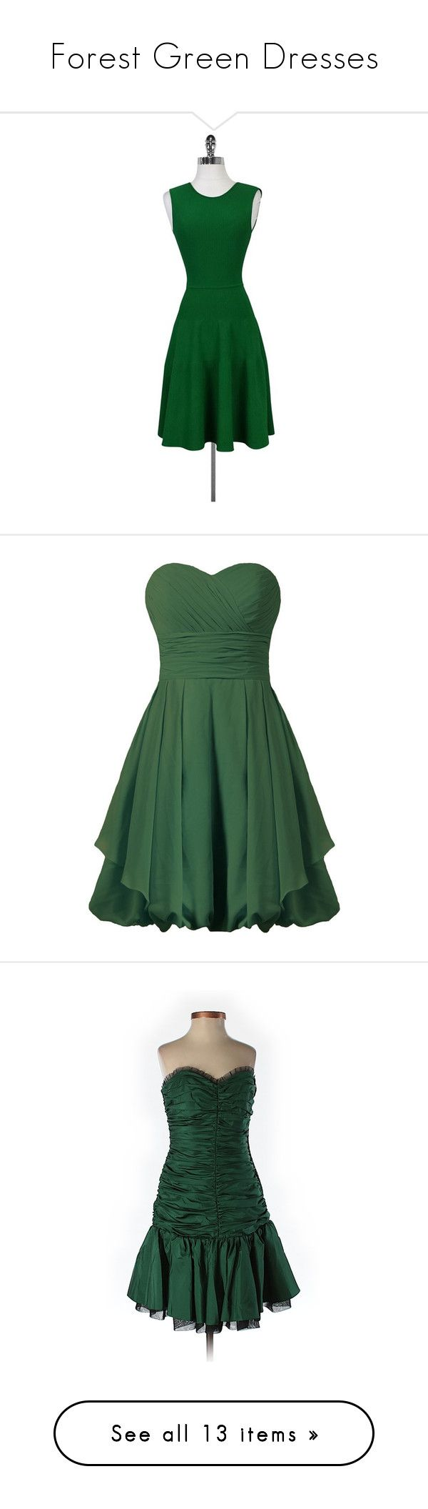 """Forest Green Dresses"" by tegan-b-riley on Polyvore featuring dresses, green, fitted flare dress, circle skirts, skater skirt, sleeveless fitted dress, flared skater skirt, bridesmaid cocktail dresses, bridesmaid dresses and short green cocktail dress"