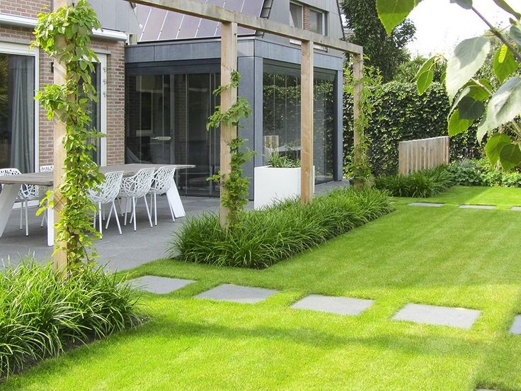 Green garden - grass and paving slab walkway, grasses