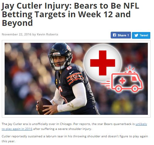 #NFL news update - Jay Cutler Injury  #sports I #Cutler
