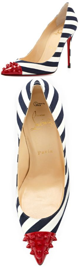 Christian Louboutin ● Navy and white striped Geo Spike Pump