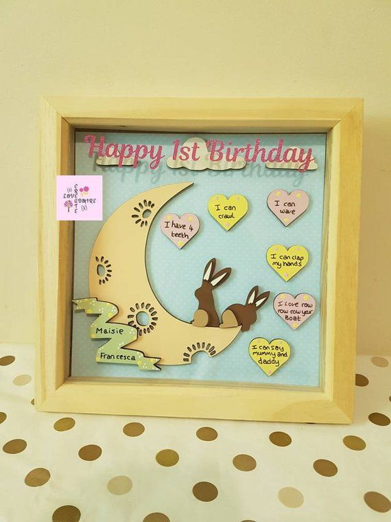 1st Birthday Keepsake Daughter Baby Gift Frame Name First Idea In 2019