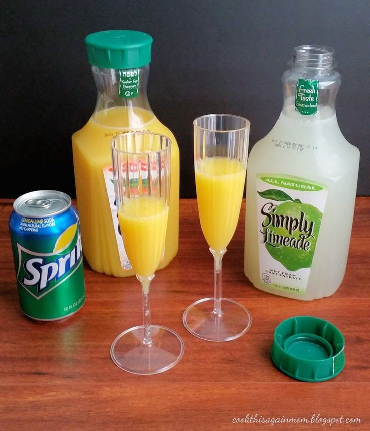 Virgin Mimosas INSTRUCTIONS First, fill glass half full with orange juice. Next, add a splash or two of limeade. Top it off with lemon lime soda. Enjoy!