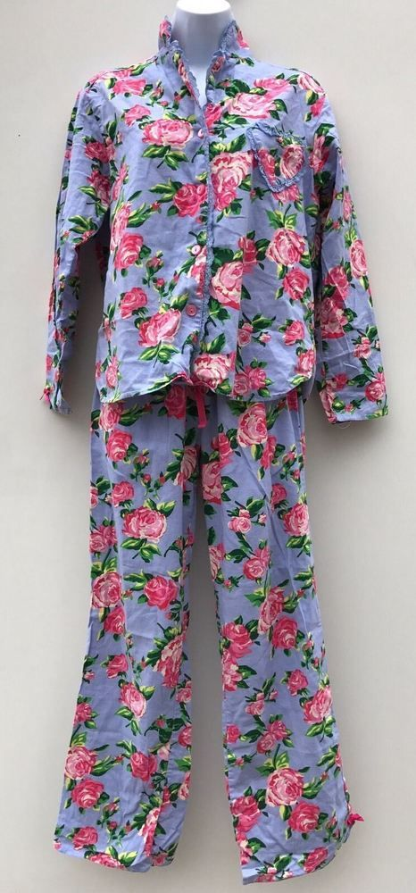 Betsey Johnson PJ Pajamas Set Pants Top Roses Red Green Size S LS Heart Pocket #BetseyJohnson #PajamaSets #Everyday