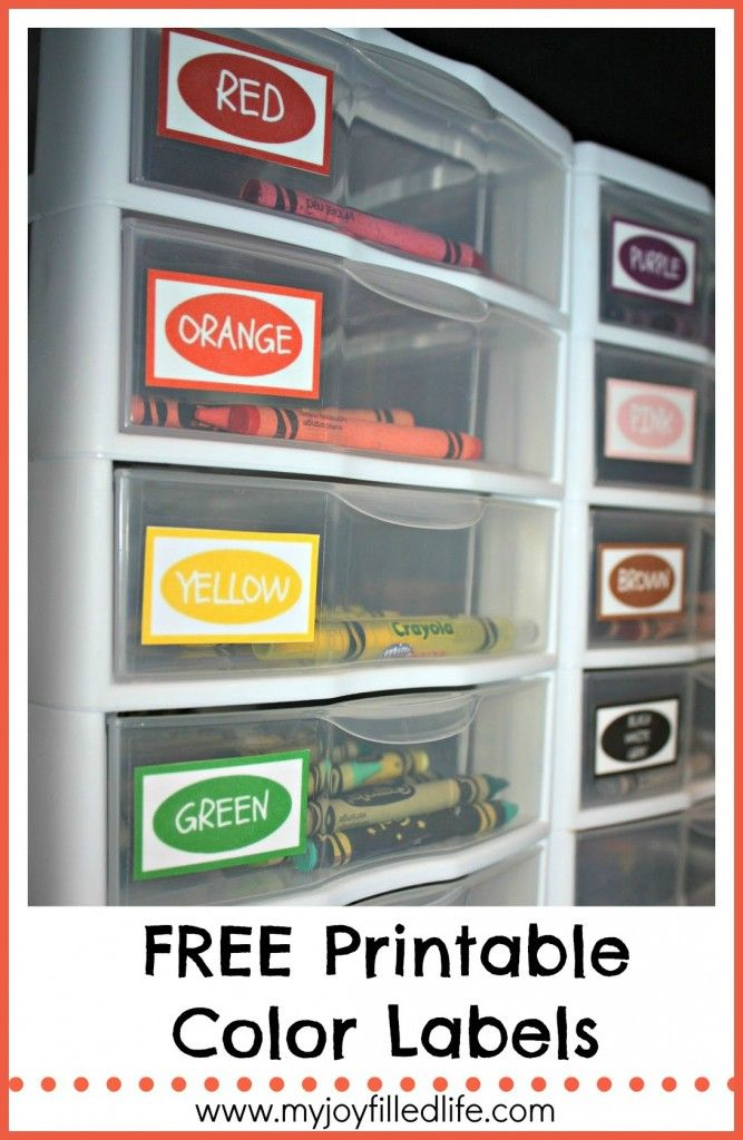 Free Printable Color Labels--love the crayon organization!
