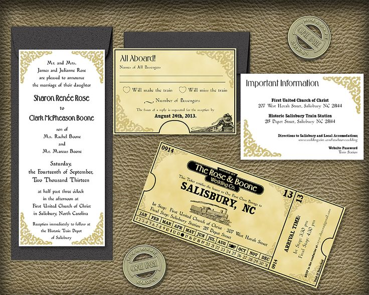 Ready To Print Wedding Invitations: 13 Best Our Work: Train Theme Wedding Invitation Suite