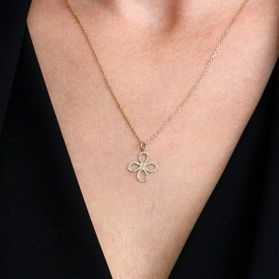 Flower gold necklace, 14k gold chain and pendant, minimalist gold necklace, dainty jewelry, layered necklace for women, skinny chain, GN0342