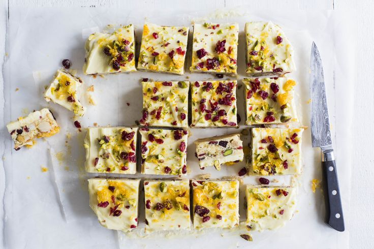 White chocolate and cranberry slice