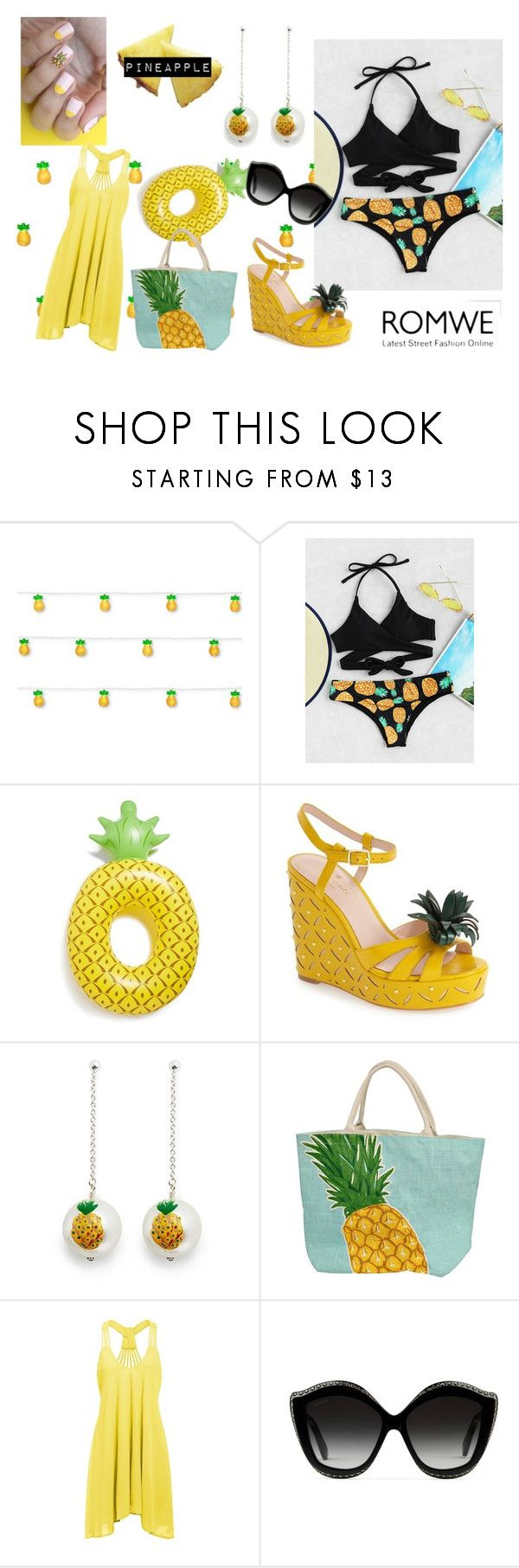 """""""PINEAPPLE"""" by emily-dickson-1 ❤ liked on Polyvore featuring Studio Mercantile, Big Mouth, Kate Spade, Venessa Arizaga and Gucci"""