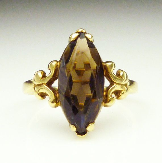 Vintage Ring 10K Gold Smokey Quartz Cocktail by zephyrvintage, $225.00 #vintagering #10kgoldring #smokeyquartz #vintagejewelry #cocktailring