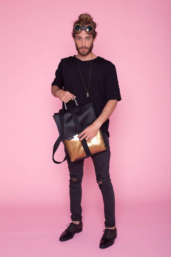 Light gold & Black Backpack laptop Waterproof Fabric by SACKPACK22