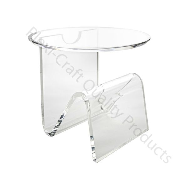 Round Beveled Table Top, Supported By A Bent Inchworm Shape With Internal  Storage Area. Diameter Top X Thick Clear Acrylic CUSTOM DIMENSIONS  AVAILABLE.