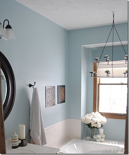 Blue & Taupe Bathroom Agrees with taupe tile and oak trim. Also has oil rubbed bronze fixtures
