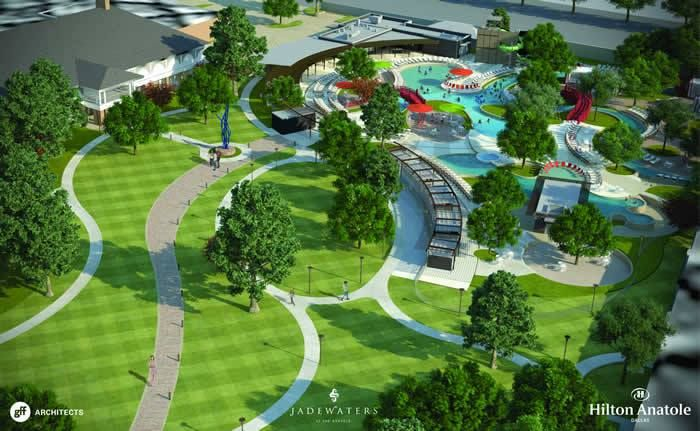 Looking to staycation in Dallas, TX - check out JadeWaters at the Hilton Anatole. Designed to attract leisure and family guests throughout the summer season, the project will encompass approximately three acres and include multiple heated swimming pools and recreation areas, as well as enhanced walking paths and green spaces.