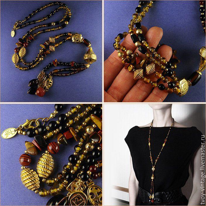 Купить Этно-мир (д791) - коричневый, ожерелье, винтажное ожерелье, сотуар из камней, натуральные камни