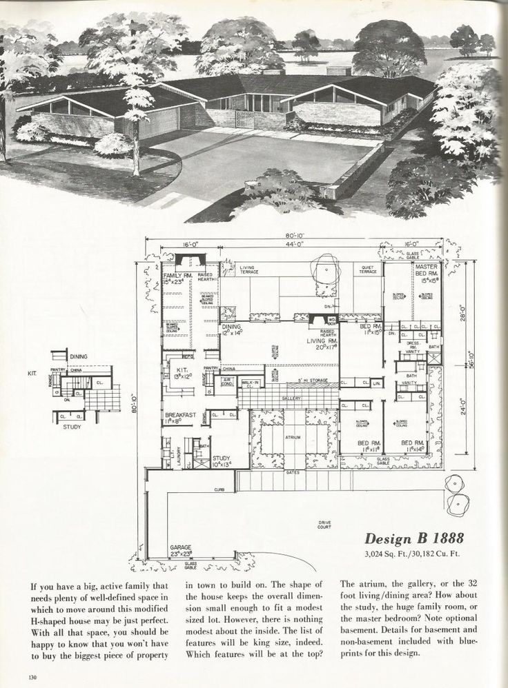 Vintage House Plans, 2000 + square foot homes, mid century